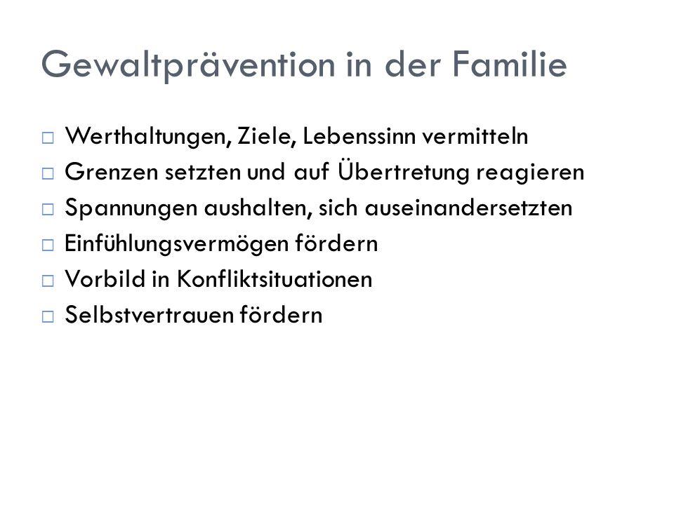 Gewaltprävention in der Familie Werthaltungen, Ziele, Lebenssinn vermitteln Grenzen setzten und auf Übertretung reagieren Spannungen aushalten, sich a