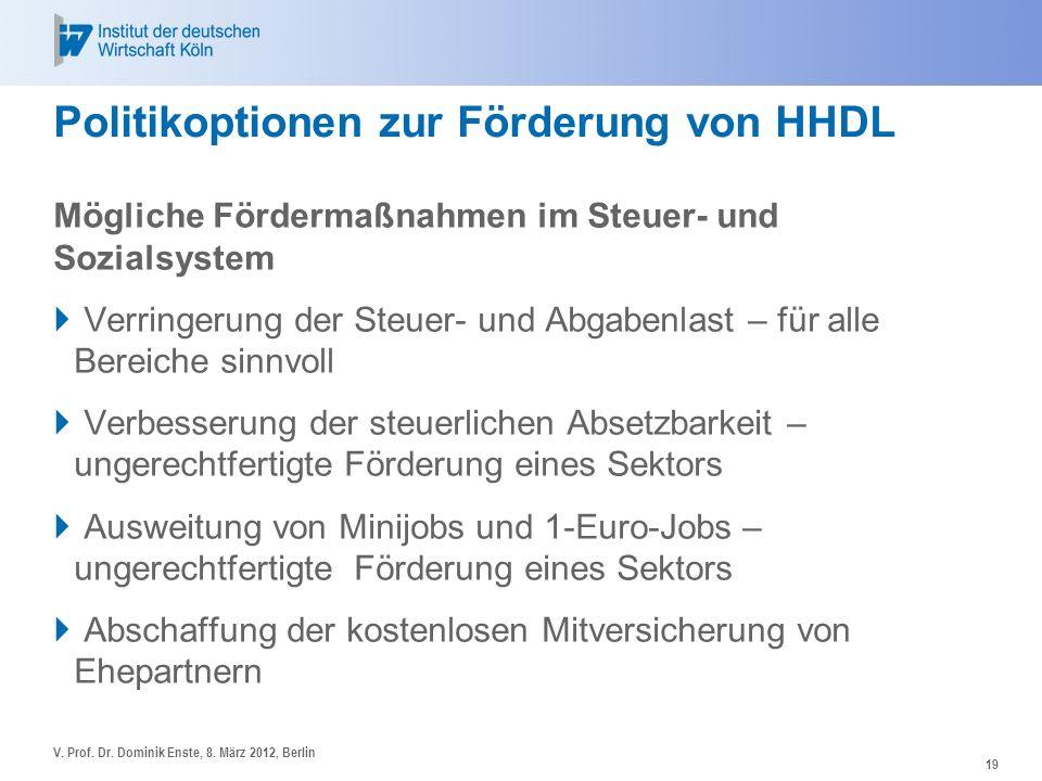 Politikoptionen zur Förderung von HHDL Mögliche Fördermaßnahmen im Steuer- und Sozialsystem Verringerung der Steuer- und Abgabenlast – für alle Bereic
