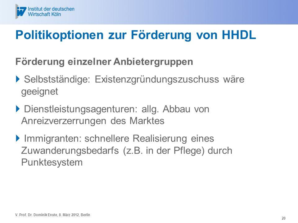 Politikoptionen zur Förderung von HHDL Förderung einzelner Anbietergruppen Selbstständige: Existenzgründungszuschuss wäre geeignet Dienstleistungsagen
