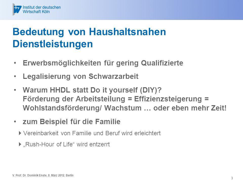 3 Bedeutung von Haushaltsnahen Dienstleistungen Erwerbsmöglichkeiten für gering Qualifizierte Legalisierung von Schwarzarbeit Warum HHDL statt Do it y