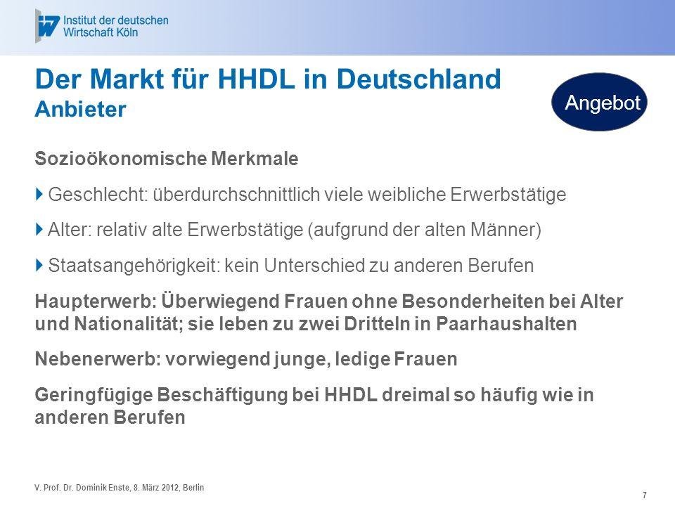 7 Der Markt für HHDL in Deutschland Anbieter Sozioökonomische Merkmale Geschlecht: überdurchschnittlich viele weibliche Erwerbstätige Alter: relativ a