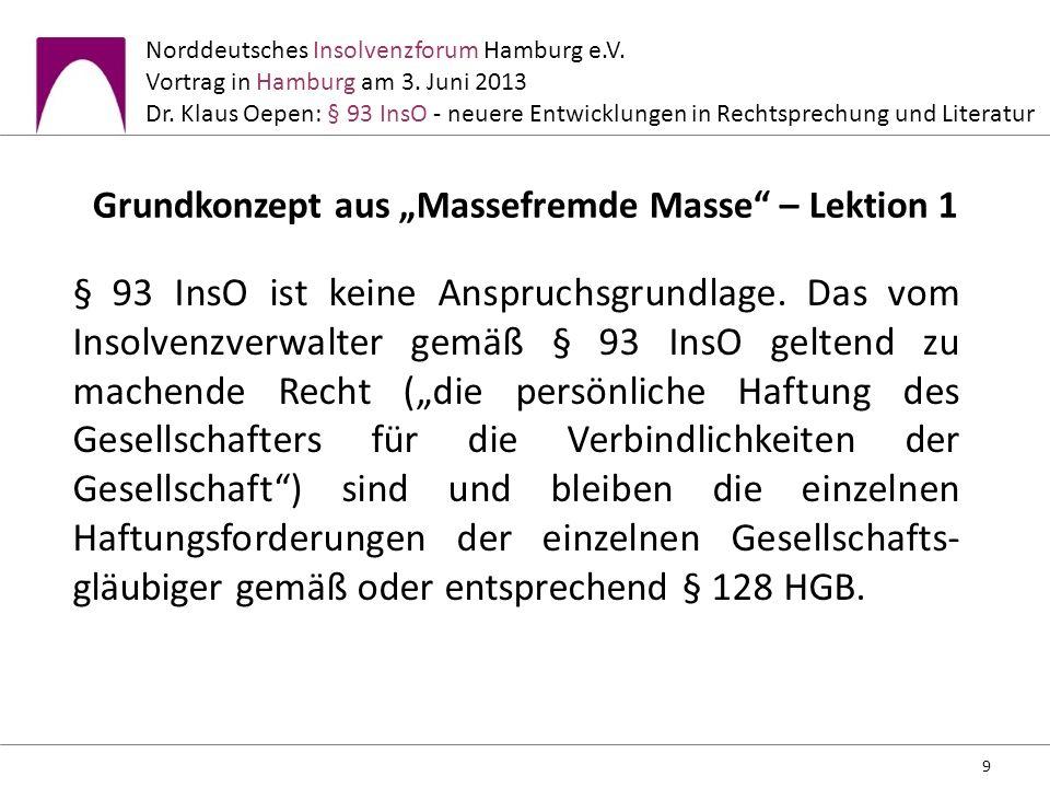 Norddeutsches Insolvenzforum Hamburg e.V. Vortrag in Hamburg am 3. Juni 2013 Dr. Klaus Oepen: § 93 InsO - neuere Entwicklungen in Rechtsprechung und L