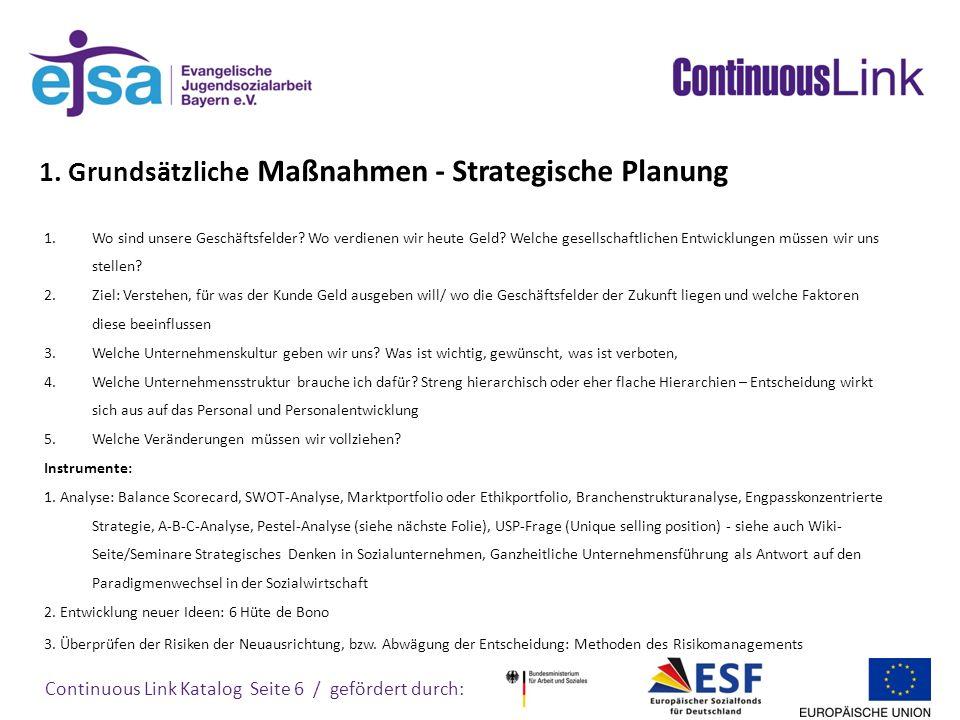 Continuous Link Katalog Seite 7 / gefördert durch: Grundsätzliche Maßnahmen - Strategische Planung Instrument: Pestel-Analyse