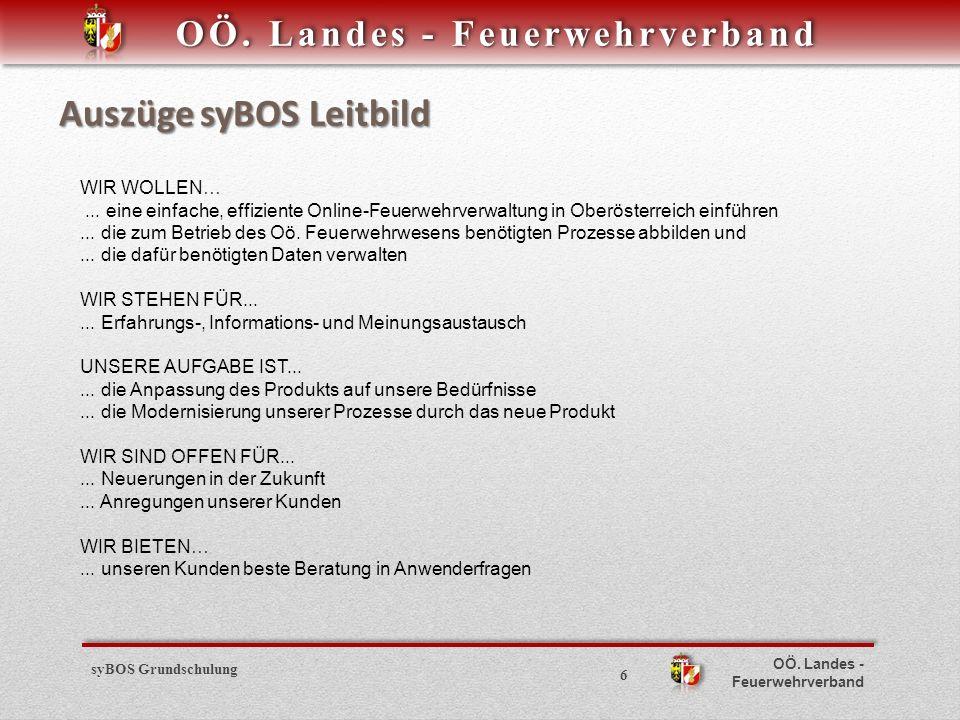 OÖ.Landes - Feuerwehrverband Auszüge syBOS Leitbild WIR WOLLEN…...