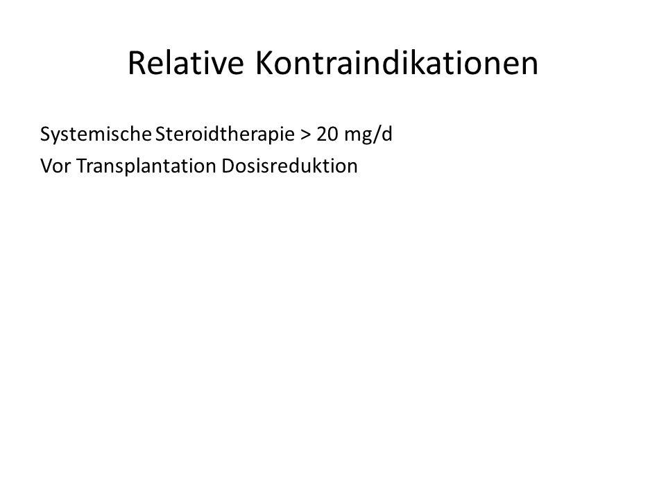 Relative Kontraindikationen Systemische Steroidtherapie > 20 mg/d Vor Transplantation Dosisreduktion