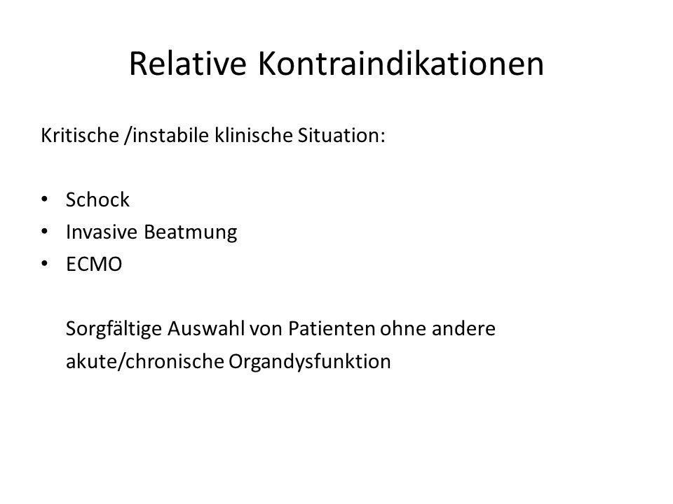Relative Kontraindikationen Kritische /instabile klinische Situation: Schock Invasive Beatmung ECMO Sorgfältige Auswahl von Patienten ohne andere akut
