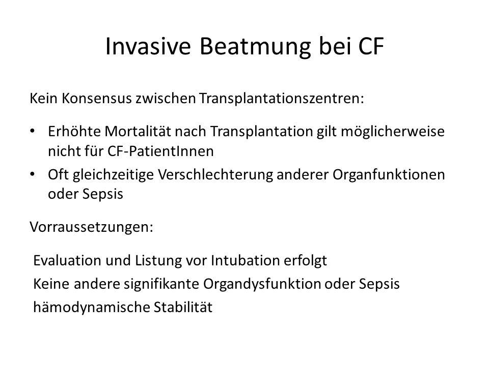 Invasive Beatmung bei CF Kein Konsensus zwischen Transplantationszentren: Erhöhte Mortalität nach Transplantation gilt möglicherweise nicht für CF-Pat