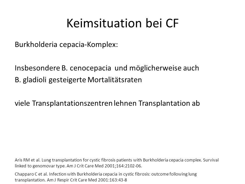Keimsituation bei CF Burkholderia cepacia-Komplex: Insbesondere B. cenocepacia und möglicherweise auch B. gladioli gesteigerte Mortalitätsraten viele
