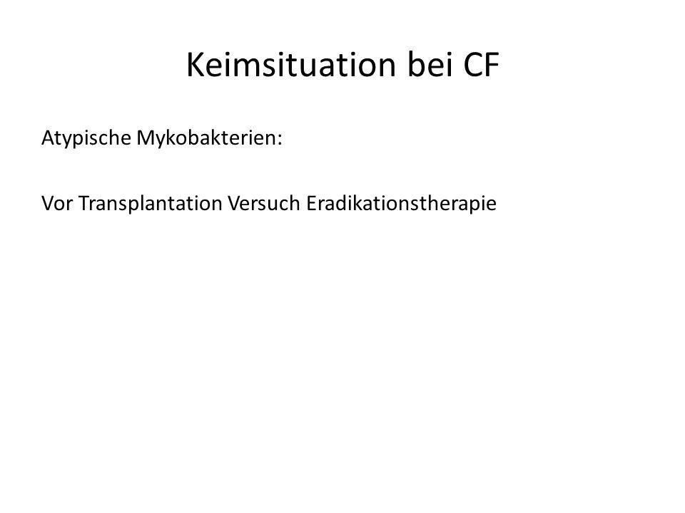 Keimsituation bei CF Atypische Mykobakterien: Vor Transplantation Versuch Eradikationstherapie