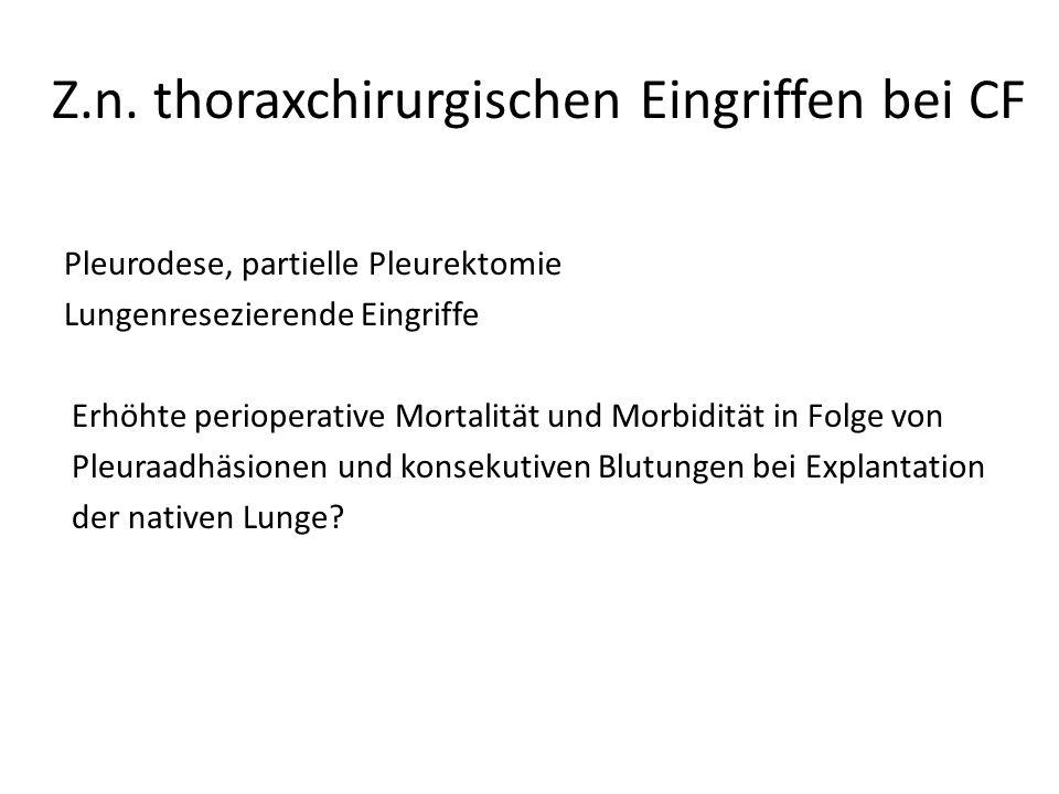 Z.n. thoraxchirurgischen Eingriffen bei CF Pleurodese, partielle Pleurektomie Lungenresezierende Eingriffe Erhöhte perioperative Mortalität und Morbid
