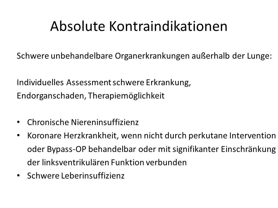 Absolute Kontraindikationen Schwere unbehandelbare Organerkrankungen außerhalb der Lunge: Individuelles Assessment schwere Erkrankung, Endorganschaden