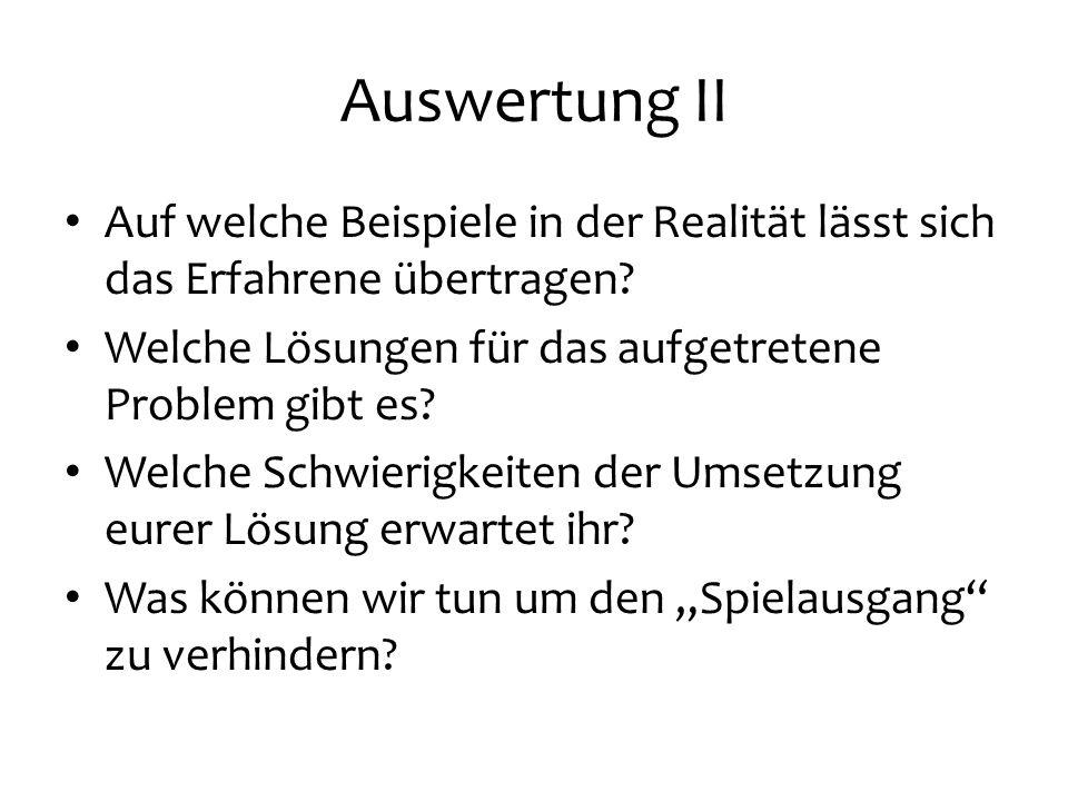 Auswertung II Auf welche Beispiele in der Realität lässt sich das Erfahrene übertragen? Welche Lösungen für das aufgetretene Problem gibt es? Welche S