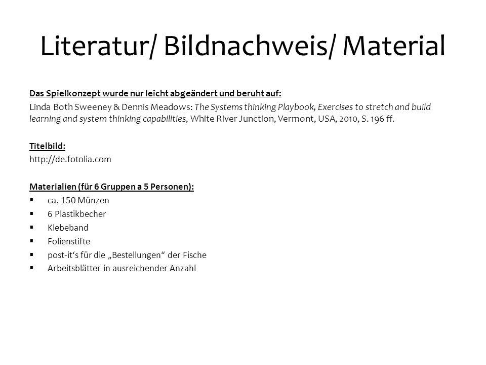 Literatur/ Bildnachweis/ Material Das Spielkonzept wurde nur leicht abgeändert und beruht auf: Linda Both Sweeney & Dennis Meadows: The Systems thinki