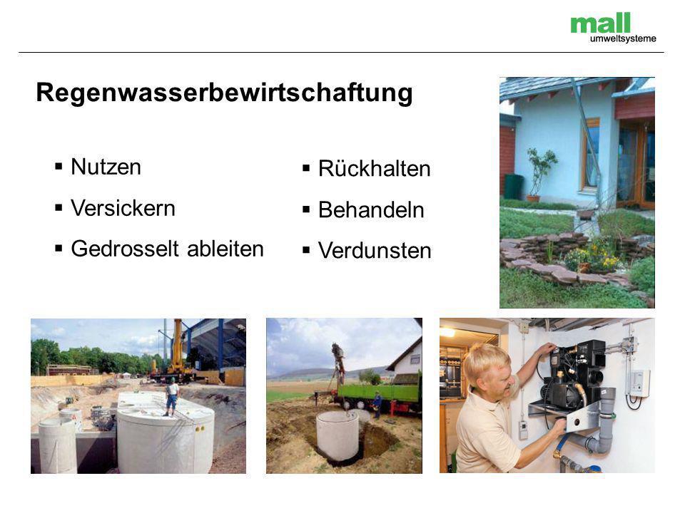 Nutzen Versickern Gedrosselt ableiten Regenwasserbewirtschaftung Rückhalten Behandeln Verdunsten