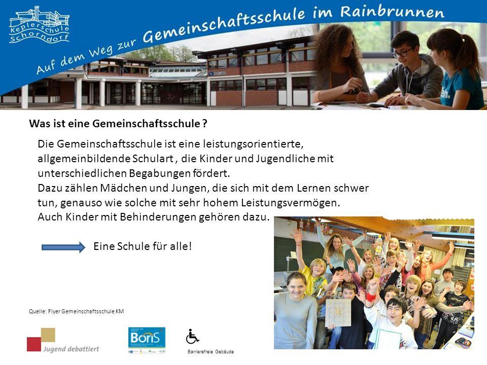 Barrierefreie Gebäude In der Gemeinschaftsschule wird nach den Bildungsstandards der Hauptschule, der Realschule und des Gymnasiums unterrichtet.