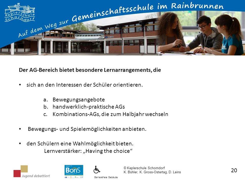 Barrierefreie Gebäude © Keplerschule Schorndorf K. Bühler, K. Gross-Ostertag, D. Leins 20 Der AG-Bereich bietet besondere Lernarrangements, die sich a