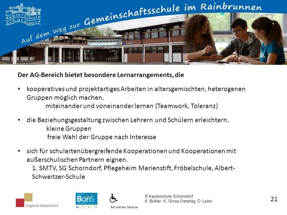 Barrierefreie Gebäude © Keplerschule Schorndorf K. Bühler, K. Gross-Ostertag, D. Leins 21 Der AG-Bereich bietet besondere Lernarrangements, die kooper