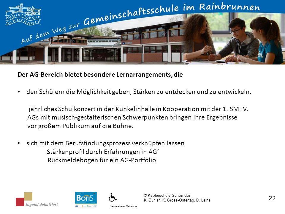 Barrierefreie Gebäude © Keplerschule Schorndorf K. Bühler, K. Gross-Ostertag, D. Leins 22 Der AG-Bereich bietet besondere Lernarrangements, die den Sc