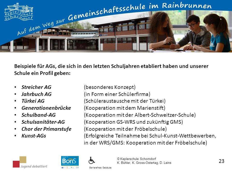 Barrierefreie Gebäude © Keplerschule Schorndorf K. Bühler, K. Gross-Ostertag, D. Leins 23 Beispiele für AGs, die sich in den letzten Schuljahren etabl