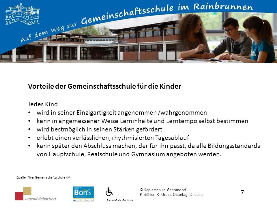 Barrierefreie Gebäude Umwandlung in Noten: PunkteWRSRSGym 4 Punkte2,73,84,3 6 Punkte12,73,5 9 Punkte12,3 12 Punkte1 © Keplerschule Schorndorf K.Bühler, K.