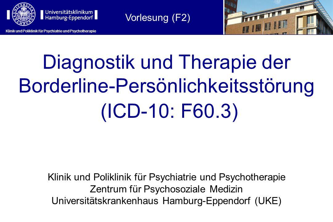 Klinik und Poliklinik für Psychiatrie und Psychotherapie Emotional instabile Persönlichkeitsstörung (F60.3) Allgemeine diagnostische Kriterien: 1)Deutliche Tendenz, unerwartet und ohne Berücksichtigung der Konsequenzen zu handeln 2)Deutliche Tendenz zu Streitereien und Konflikten mit anderen, v.a.