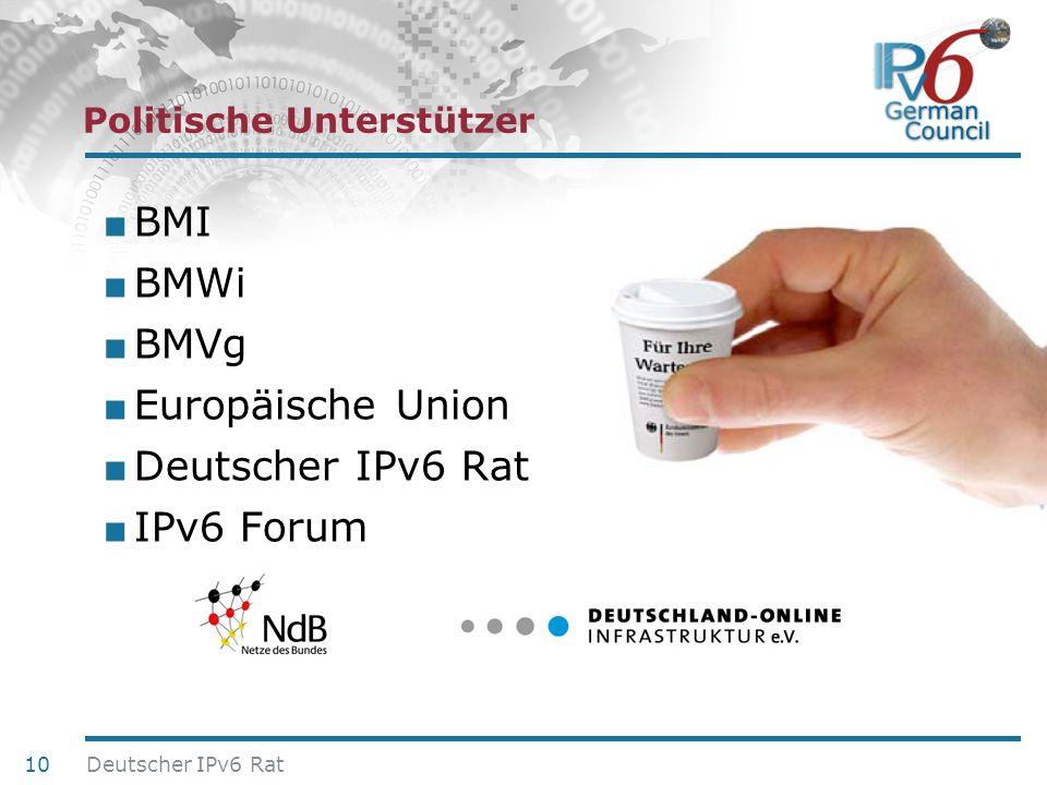 24. Juni 2010 Politische Unterstützer BMI BMWi BMVg Europäische Union Deutscher IPv6 Rat IPv6 Forum 10 Deutscher IPv6 Rat
