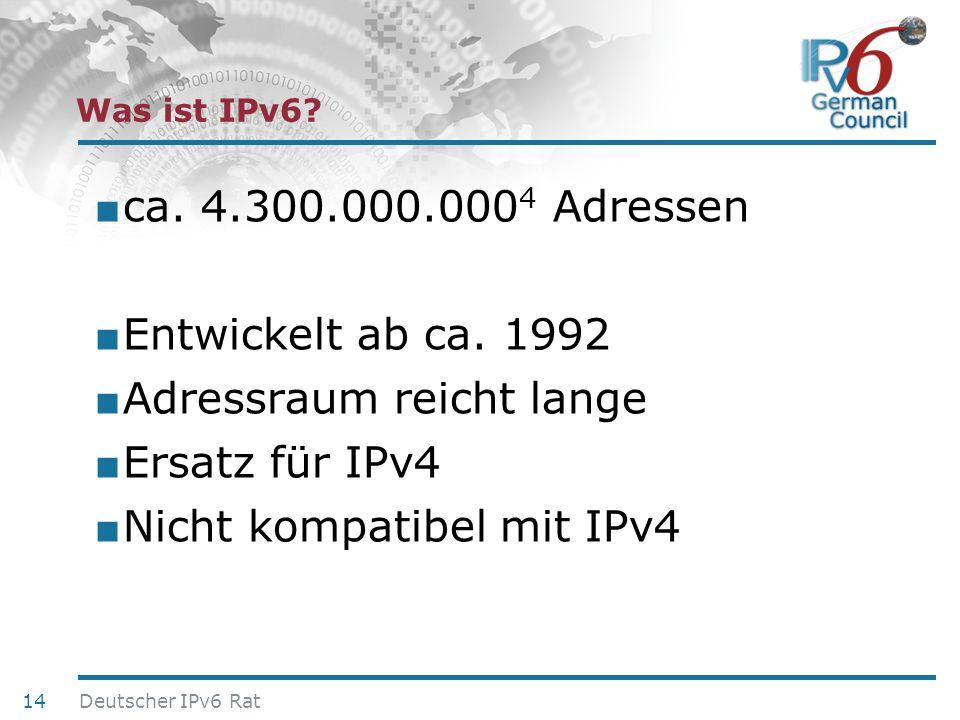 24. Juni 2010 Was ist IPv6? ca. 4.300.000.000 4 Adressen Entwickelt ab ca. 1992 Adressraum reicht lange Ersatz für IPv4 Nicht kompatibel mit IPv4 14 D