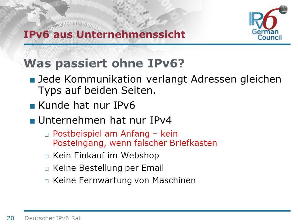 24. Juni 2010 IPv6 aus Unternehmenssicht Was passiert ohne IPv6? Jede Kommunikation verlangt Adressen gleichen Typs auf beiden Seiten. Kunde hat nur I