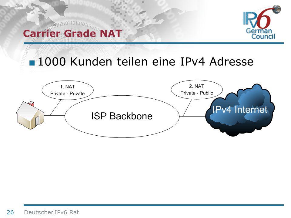 24. Juni 2010 Carrier Grade NAT 1000 Kunden teilen eine IPv4 Adresse 26 Deutscher IPv6 Rat