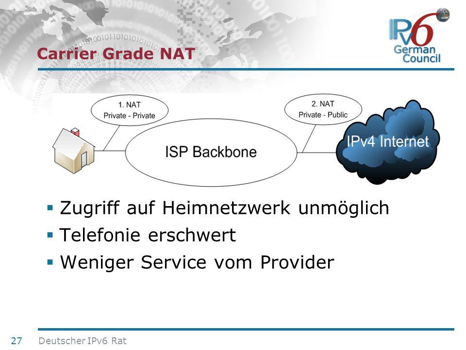 24. Juni 2010 Carrier Grade NAT Zugriff auf Heimnetzwerk unmöglich Telefonie erschwert Weniger Service vom Provider 27 Deutscher IPv6 Rat