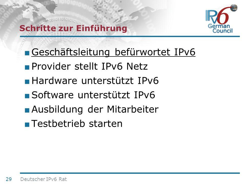 24. Juni 2010 Schritte zur Einführung Geschäftsleitung befürwortet IPv6 Provider stellt IPv6 Netz Hardware unterstützt IPv6 Software unterstützt IPv6