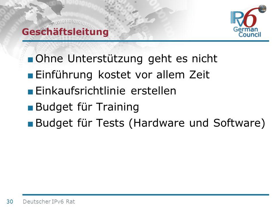 24. Juni 2010 Geschäftsleitung Ohne Unterstützung geht es nicht Einführung kostet vor allem Zeit Einkaufsrichtlinie erstellen Budget für Training Budg