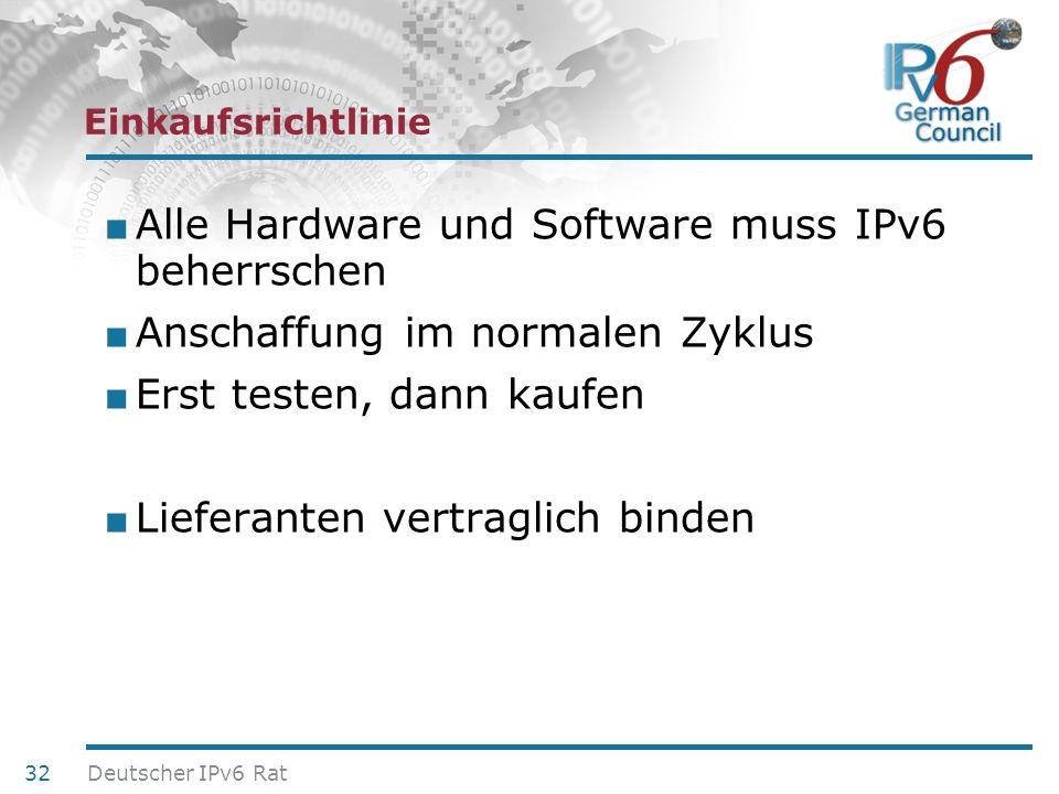 24. Juni 2010 Einkaufsrichtlinie Alle Hardware und Software muss IPv6 beherrschen Anschaffung im normalen Zyklus Erst testen, dann kaufen Lieferanten