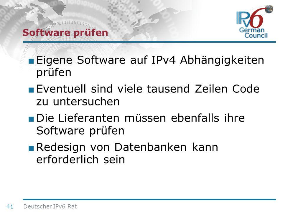 24. Juni 2010 Software prüfen Eigene Software auf IPv4 Abhängigkeiten prüfen Eventuell sind viele tausend Zeilen Code zu untersuchen Die Lieferanten m