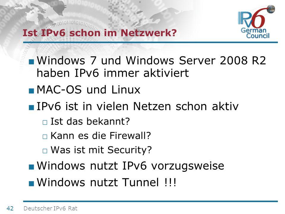 24. Juni 2010 Ist IPv6 schon im Netzwerk? Windows 7 und Windows Server 2008 R2 haben IPv6 immer aktiviert MAC-OS und Linux IPv6 ist in vielen Netzen s