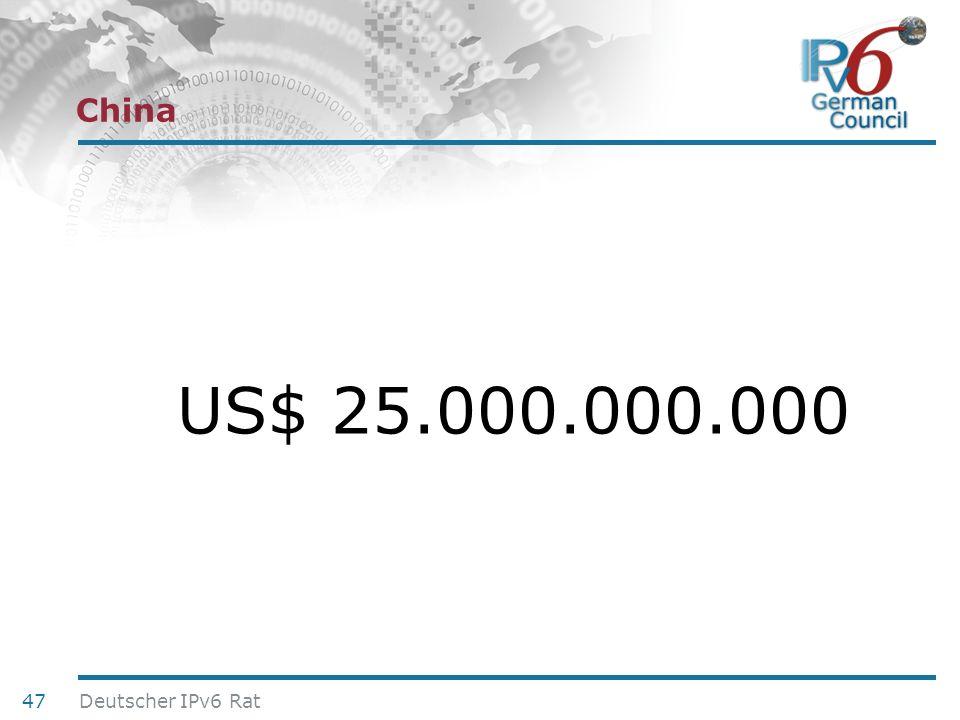 24. Juni 2010 China US$ 25.000.000.000 47 Deutscher IPv6 Rat