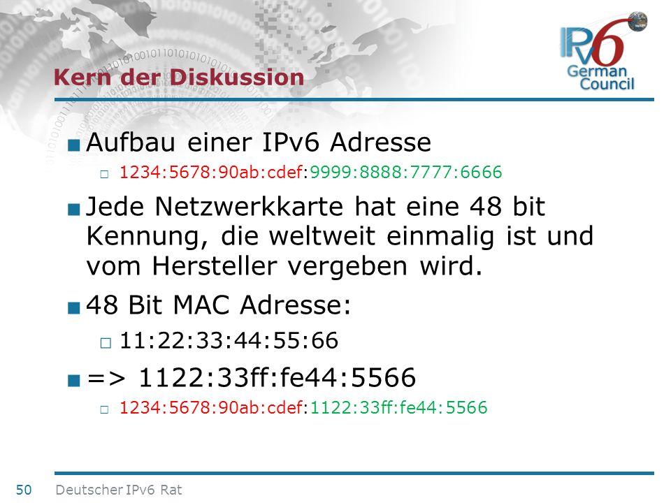 24. Juni 2010 Kern der Diskussion Aufbau einer IPv6 Adresse 1234:5678:90ab:cdef:9999:8888:7777:6666 Jede Netzwerkkarte hat eine 48 bit Kennung, die we