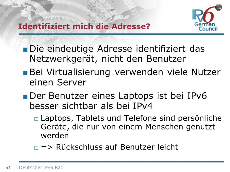 24. Juni 2010 Identifiziert mich die Adresse? Die eindeutige Adresse identifiziert das Netzwerkgerät, nicht den Benutzer Bei Virtualisierung verwenden