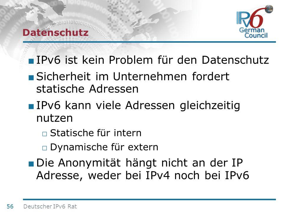 24. Juni 2010 Datenschutz IPv6 ist kein Problem für den Datenschutz Sicherheit im Unternehmen fordert statische Adressen IPv6 kann viele Adressen glei