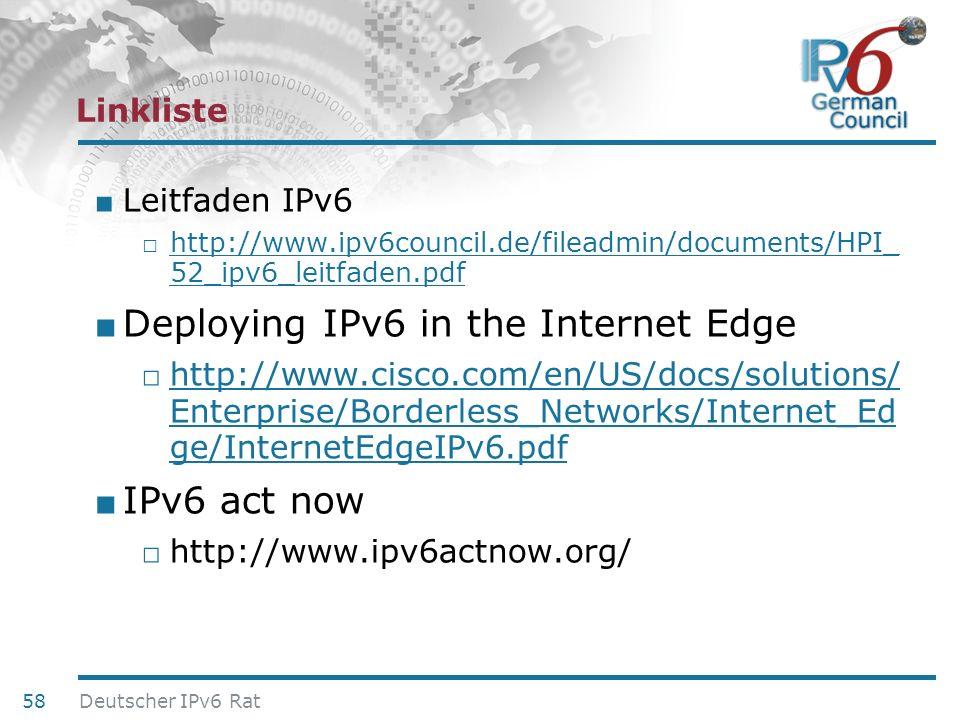 24. Juni 2010 Linkliste Leitfaden IPv6 http://www.ipv6council.de/fileadmin/documents/HPI_ 52_ipv6_leitfaden.pdf http://www.ipv6council.de/fileadmin/do