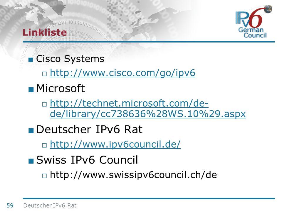 24. Juni 2010 Linkliste Cisco Systems http://www.cisco.com/go/ipv6 Microsoft http://technet.microsoft.com/de- de/library/cc738636%28WS.10%29.aspx http