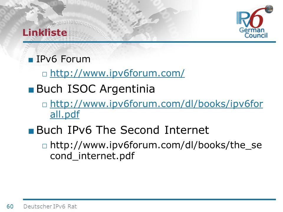 24. Juni 2010 Linkliste IPv6 Forum http://www.ipv6forum.com/ Buch ISOC Argentinia http://www.ipv6forum.com/dl/books/ipv6for all.pdf http://www.ipv6for
