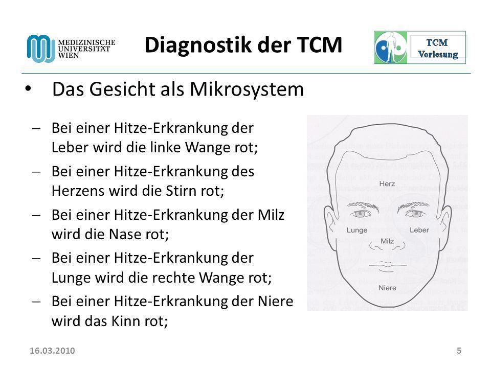 16.03.20105 Diagnostik der TCM Das Gesicht als Mikrosystem Bei einer Hitze-Erkrankung der Leber wird die linke Wange rot; Bei einer Hitze-Erkrankung d