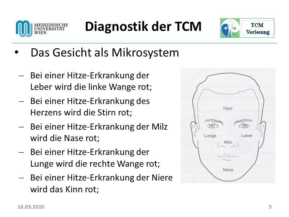16.03.20106 Diagnostik der TCM Das Ohr als Mikrosystem