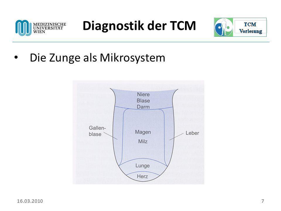 16.03.20107 Diagnostik der TCM Die Zunge als Mikrosystem