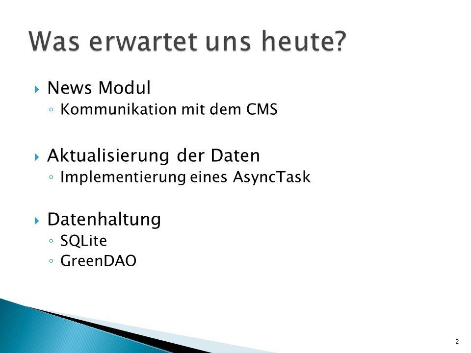 News Modul Kommunikation mit dem CMS Aktualisierung der Daten Implementierung eines AsyncTask Datenhaltung SQLite GreenDAO 2