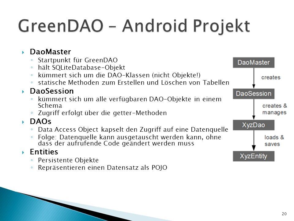 DaoMaster Startpunkt für GreenDAO hält SQLiteDatabase-Objekt kümmert sich um die DAO-Klassen (nicht Objekte!) statische Methoden zum Erstellen und Lös