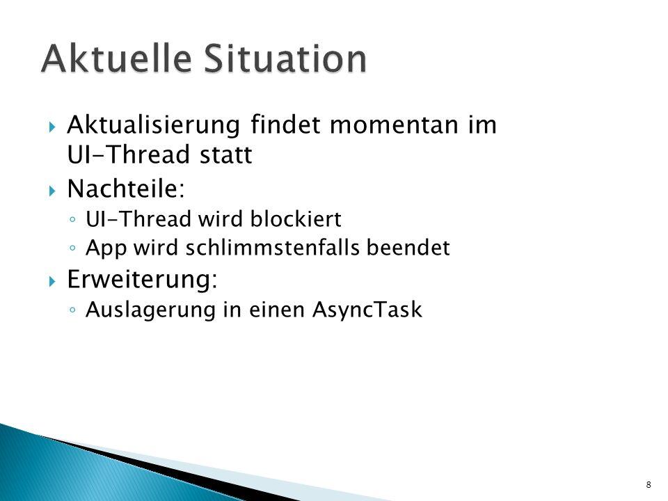 Aktualisierung findet momentan im UI-Thread statt Nachteile: UI-Thread wird blockiert App wird schlimmstenfalls beendet Erweiterung: Auslagerung in ei