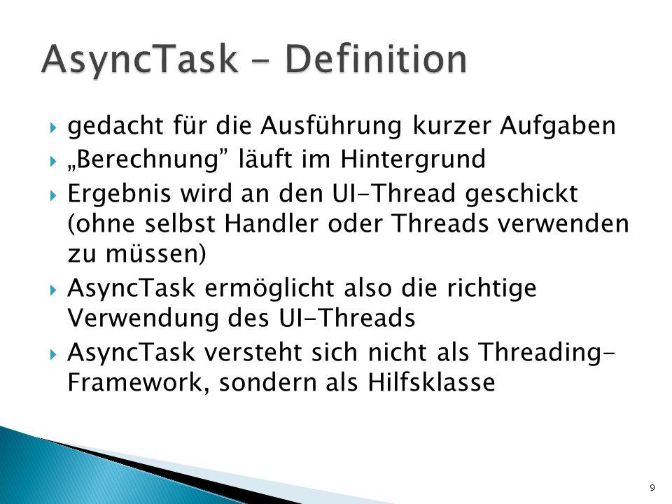 gedacht für die Ausführung kurzer Aufgaben Berechnung läuft im Hintergrund Ergebnis wird an den UI-Thread geschickt (ohne selbst Handler oder Threads