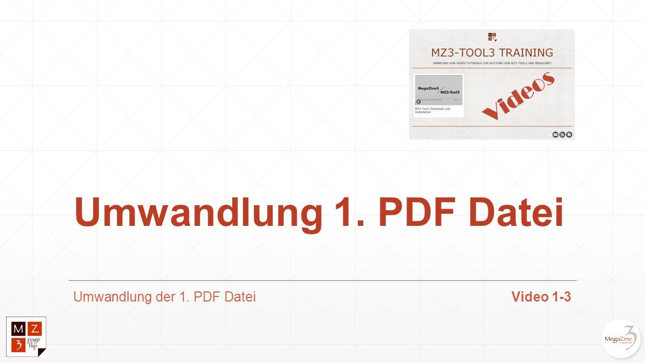 Umwandlung der 1. PDF DateiVideo 1-3 Umwandlung 1. PDF Datei